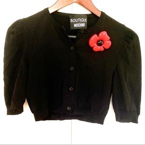 Moschino Short Sleeve Crop Cardigan w/Brooch 🌺